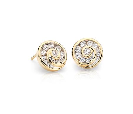 Blue Nile Studio Grande Diamond Spiral Stud Earrings in 18k Yellow Gold (3/4 ct. tw.)