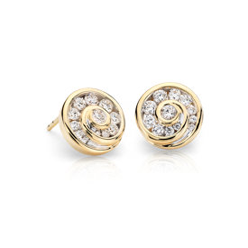 Blue Nile Studio Grande Diamond Spiral Stud Earrings in 18k Yellow Gold (3/4 ct. tw.)