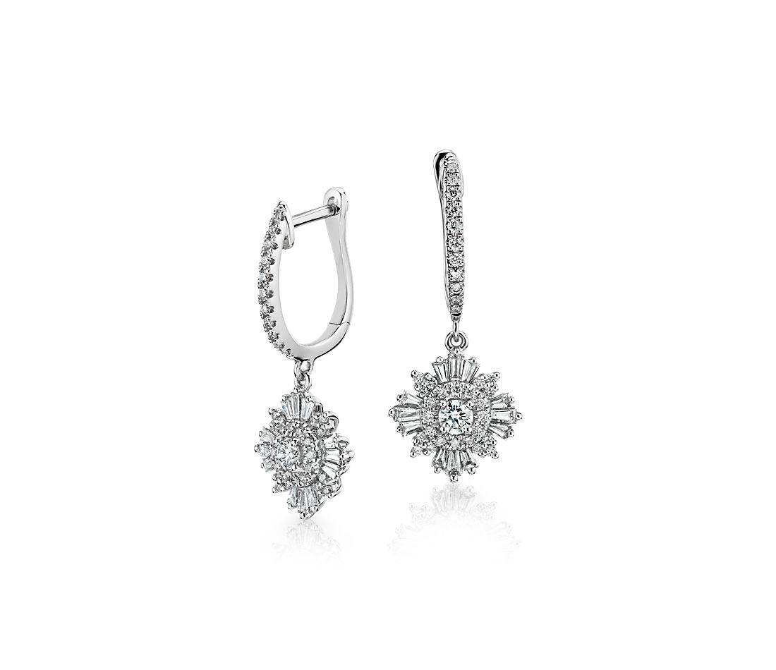 Diamond Starburst Drop Earring in 14k White Gold (1 ct. tw.)