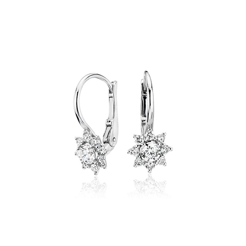 Diamond Starburst Leverback Drop Earrings in 14k White Gold (5/8