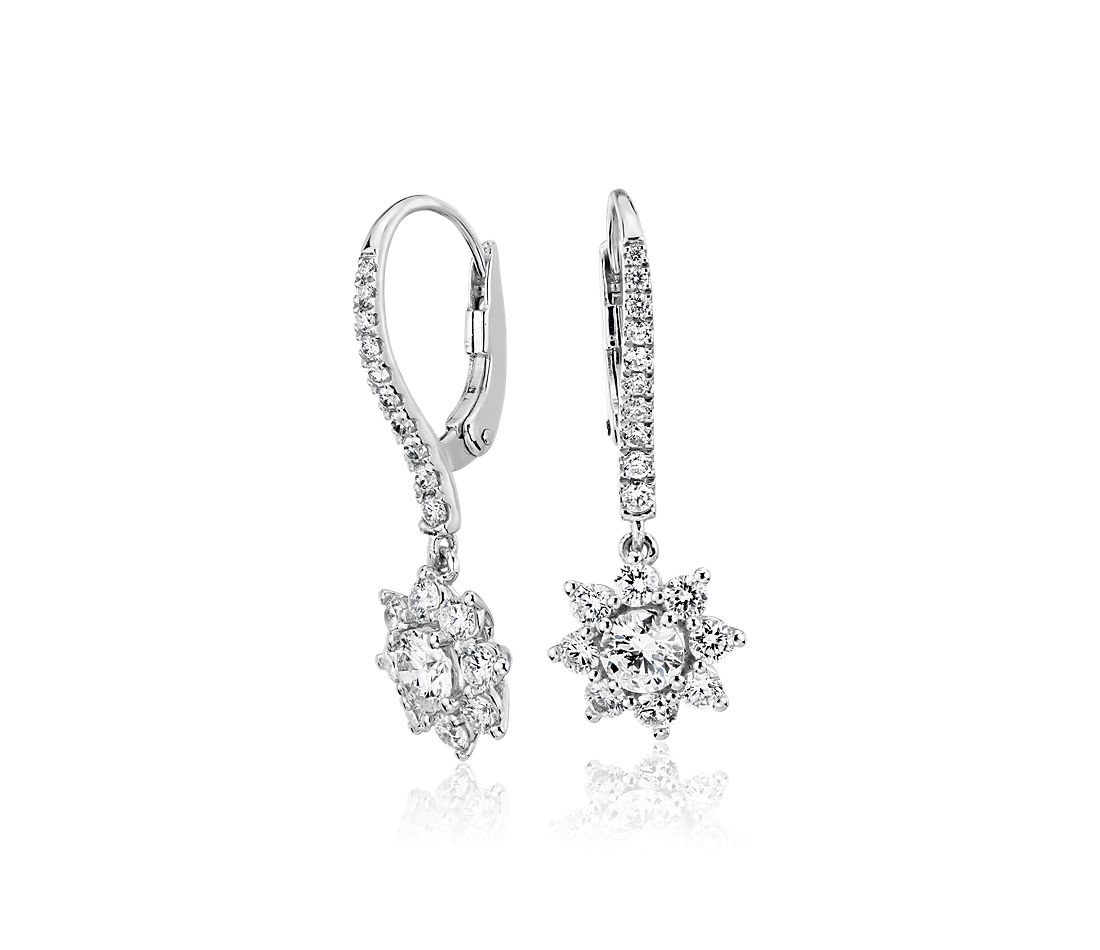 Diamond Starburst Leverback Drop Earrings in 14k White Gold (1 ct. tw.)