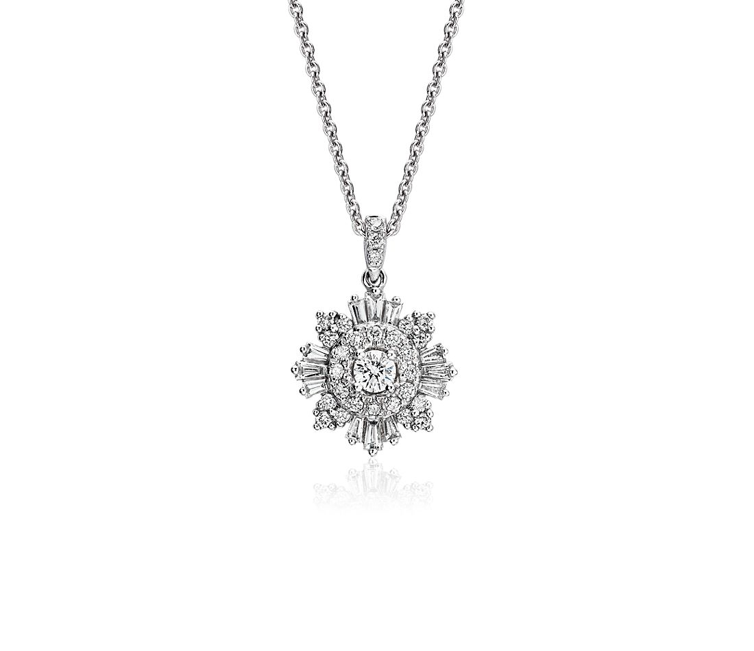 Diamond Starburst Pendant in 14k White Gold