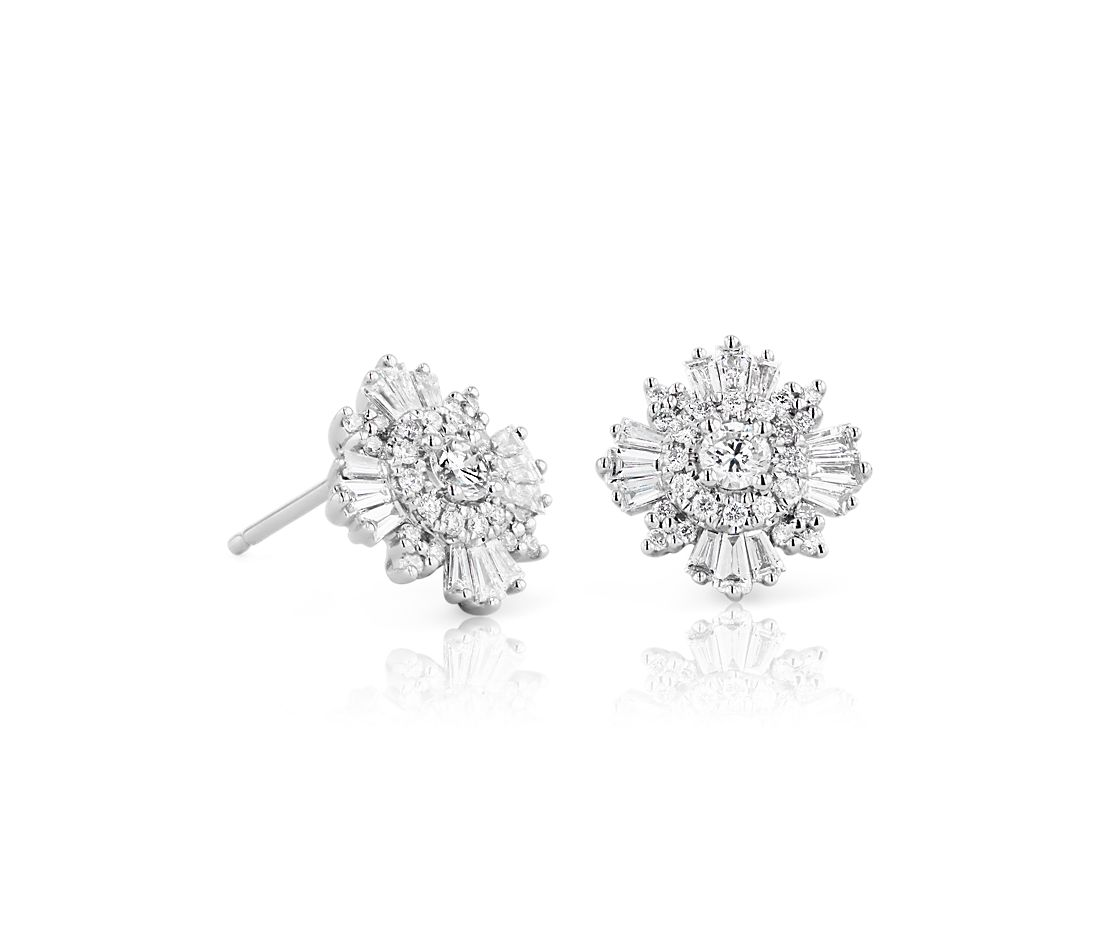 Diamond Starburst Stud Earrings in 14k White Gold (7/8 ct. tw.)