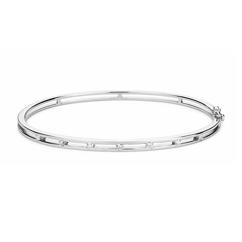 Diamond Station Bangle Bracelet in 14k White Gold (1/4 ct. tw.)