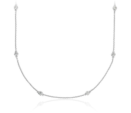 Diamond Station and Heart Necklace in 14k White Gold (1/2 ct. tw.)