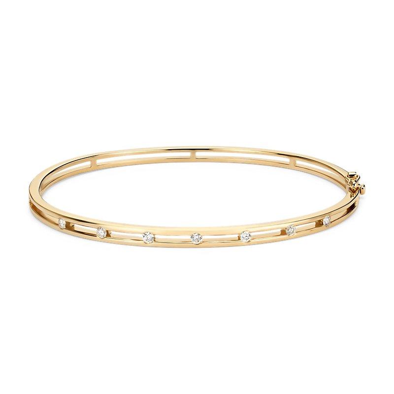 Diamond Station Bangle Bracelet in 14k Yellow Gold (1/4 ct. tw.)