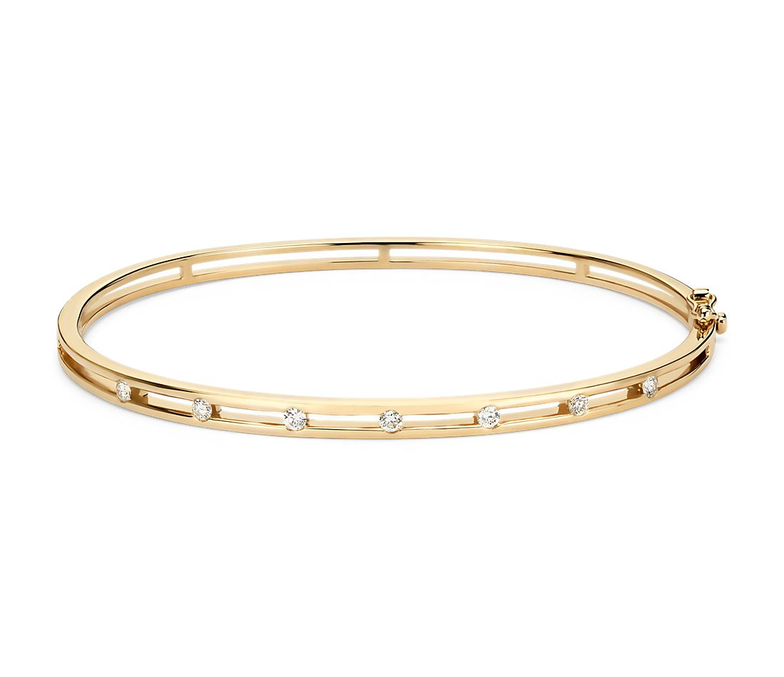 Diamond Station Bangle Bracelet In 14k Yellow Gold 1 4 Ct