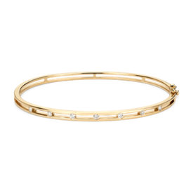 Diamond Station Bangle Bracelet in 14k Yellow Gold (1/4 ct. tw.)