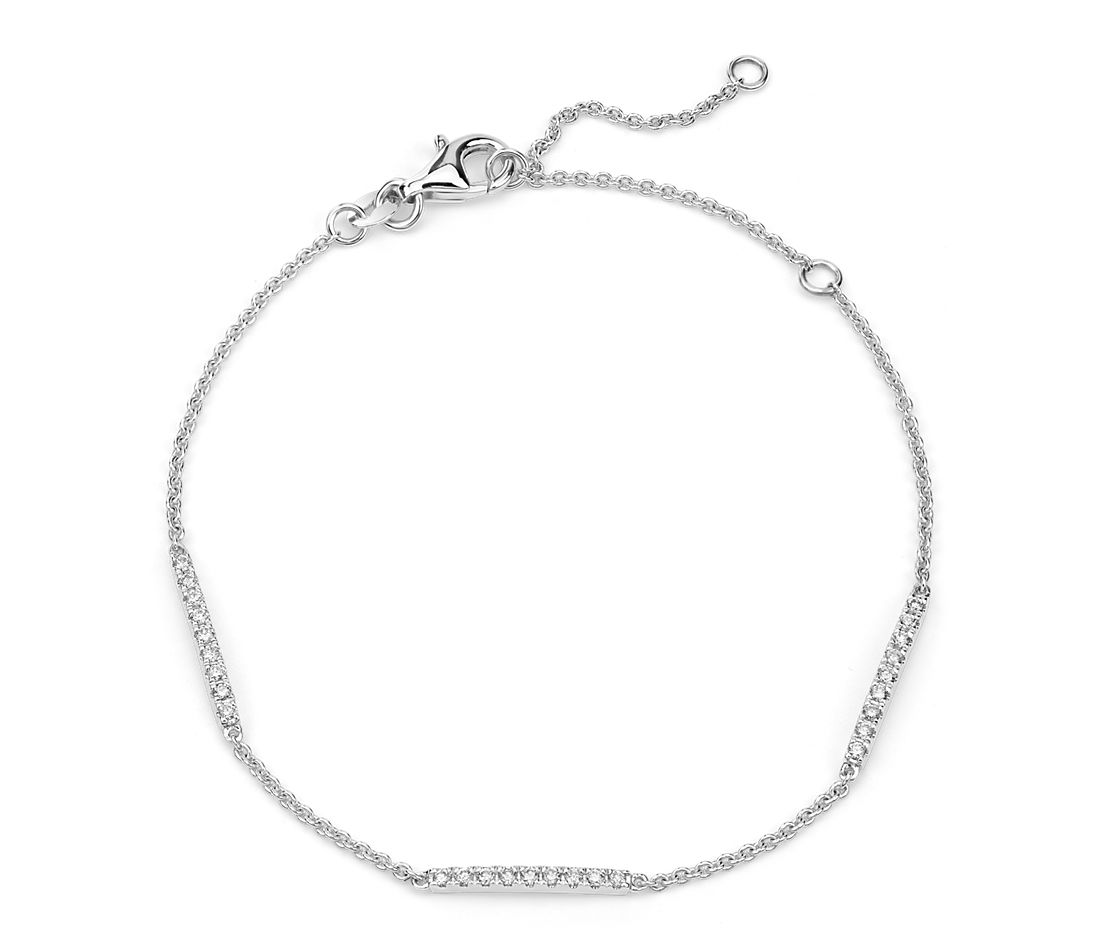 Diamond Stationed Bar Bracelet in 14k White Gold (0.23 ct. tw.)