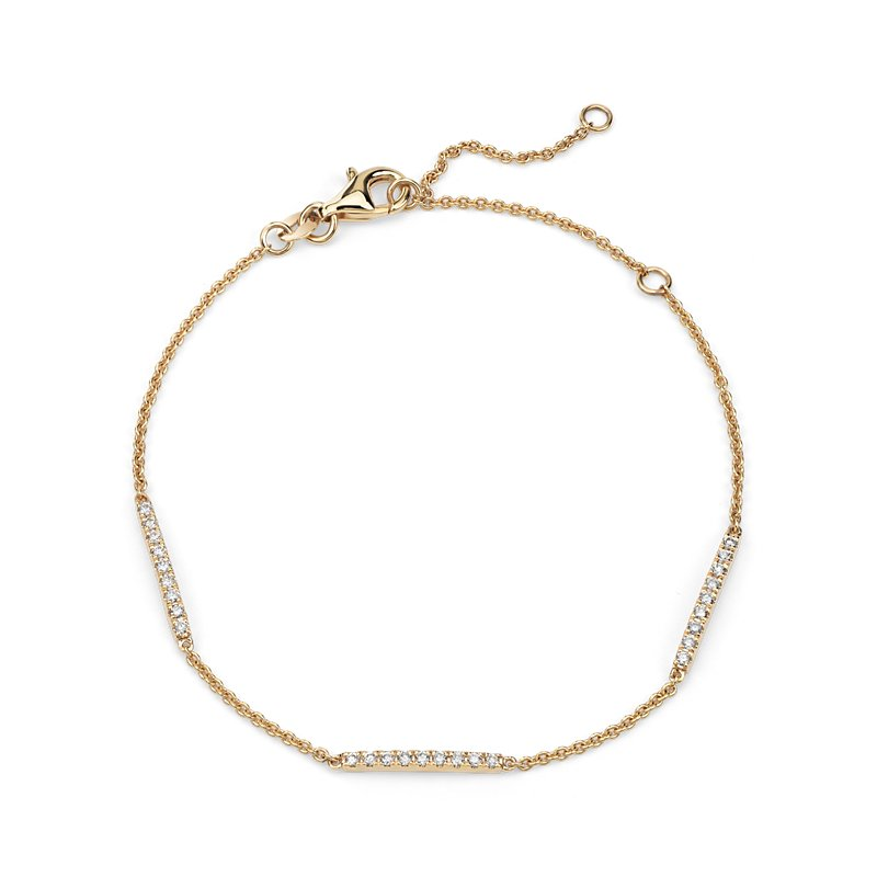 Diamond Stationed Bar Bracelet in 14k Yellow Gold (1/4 ct. tw.)