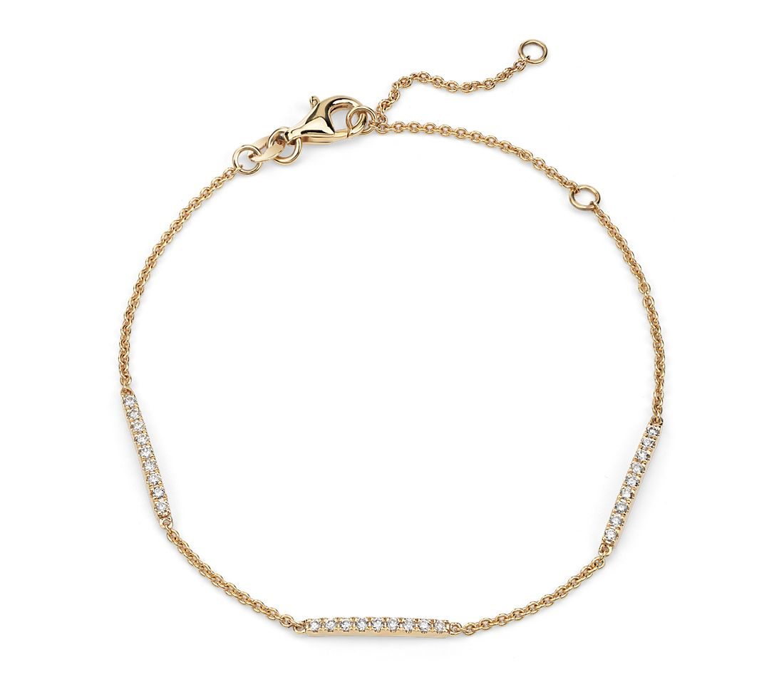 Diamond Stationed Bar Bracelet in 14k Yellow Gold (0.23 ct. tw.)