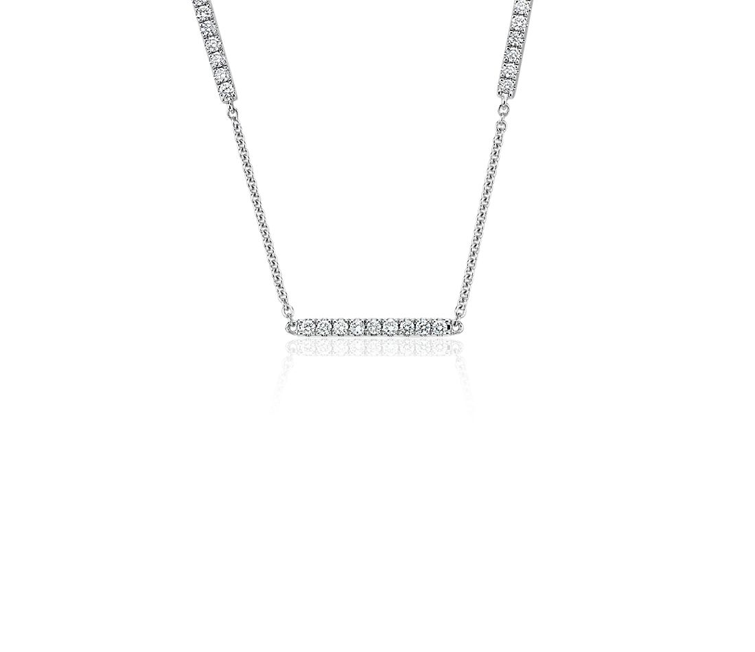 Diamond Stationed Bar Necklace in 14k White Gold (1/2 ct. tw.)