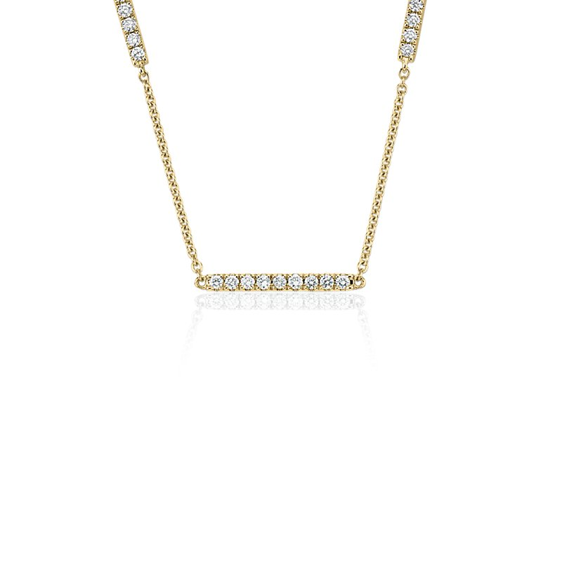 Diamond Stationed Bar Necklace in 14k Yellow Gold (1/2 ct. tw.)