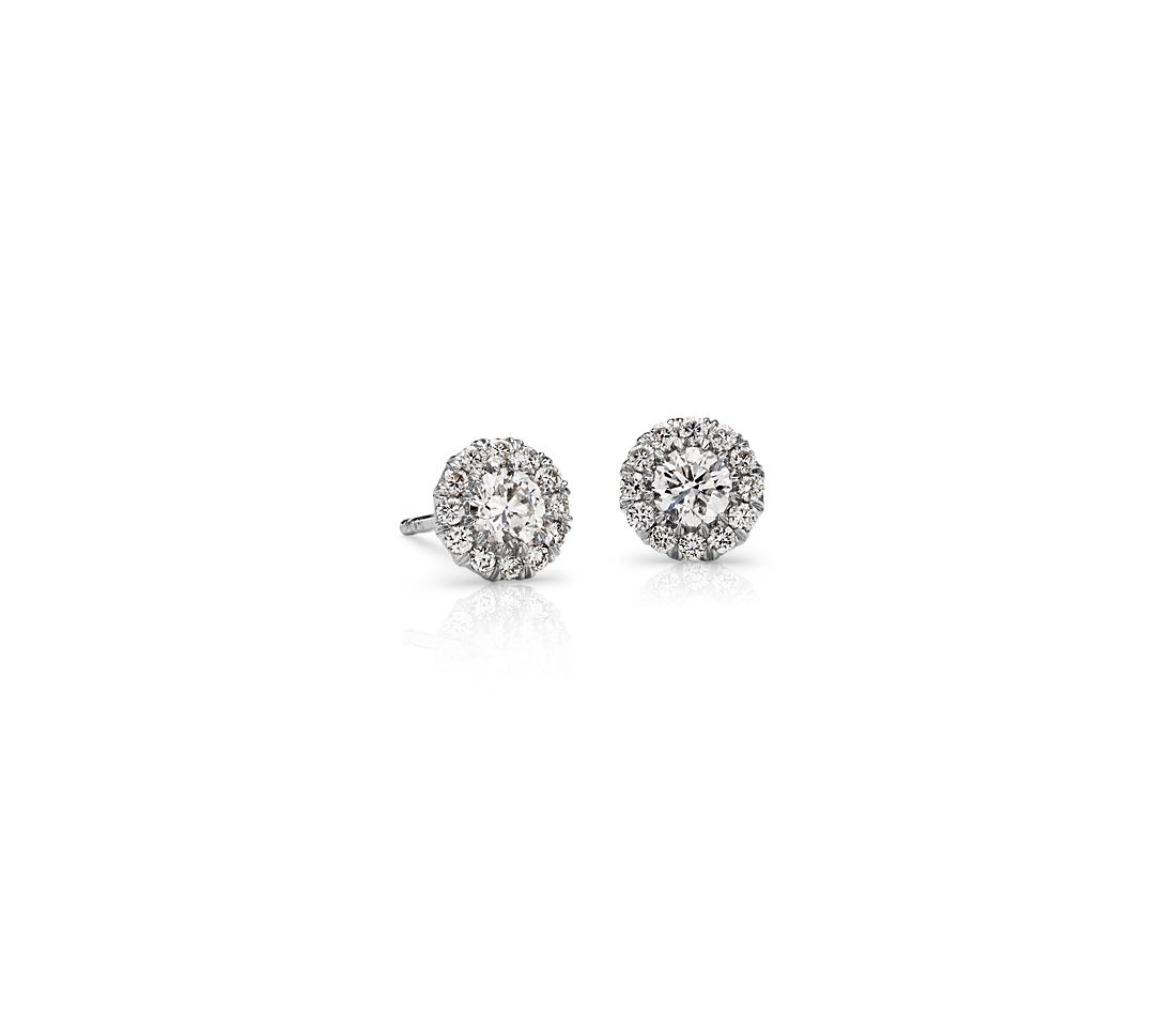 Halo Diamond Earrings in 18k White Gold - H / SI2 (1/2 ct. tw.)