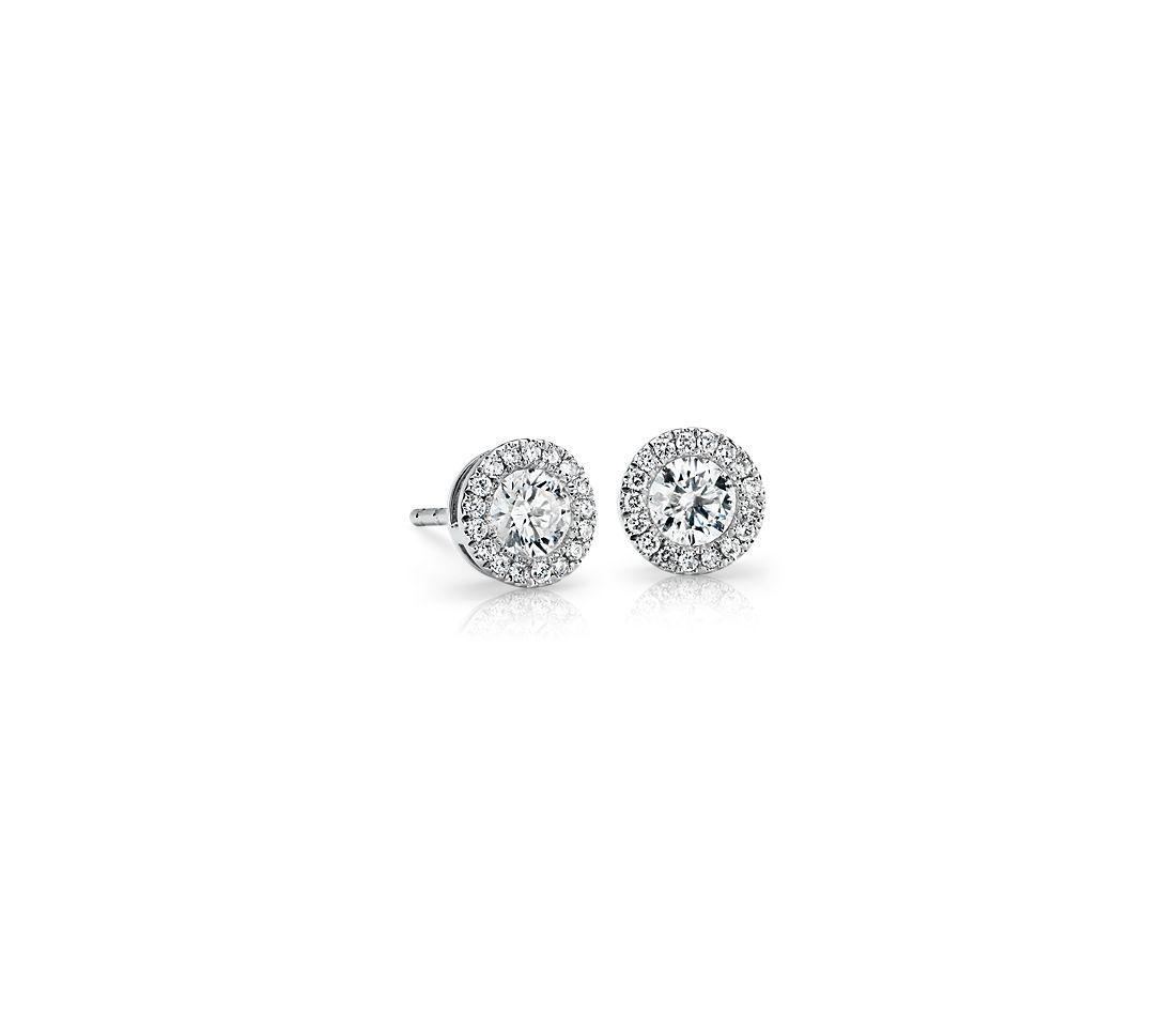 Diamond Halo Earrings in 14k White Gold (0.48 ct. tw.)