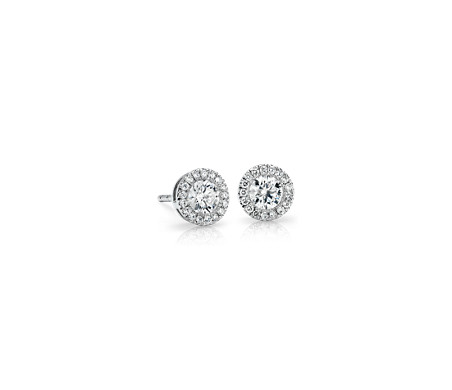 Diamond Halo Earrings in 14k White Gold (1/2 ct. tw.)