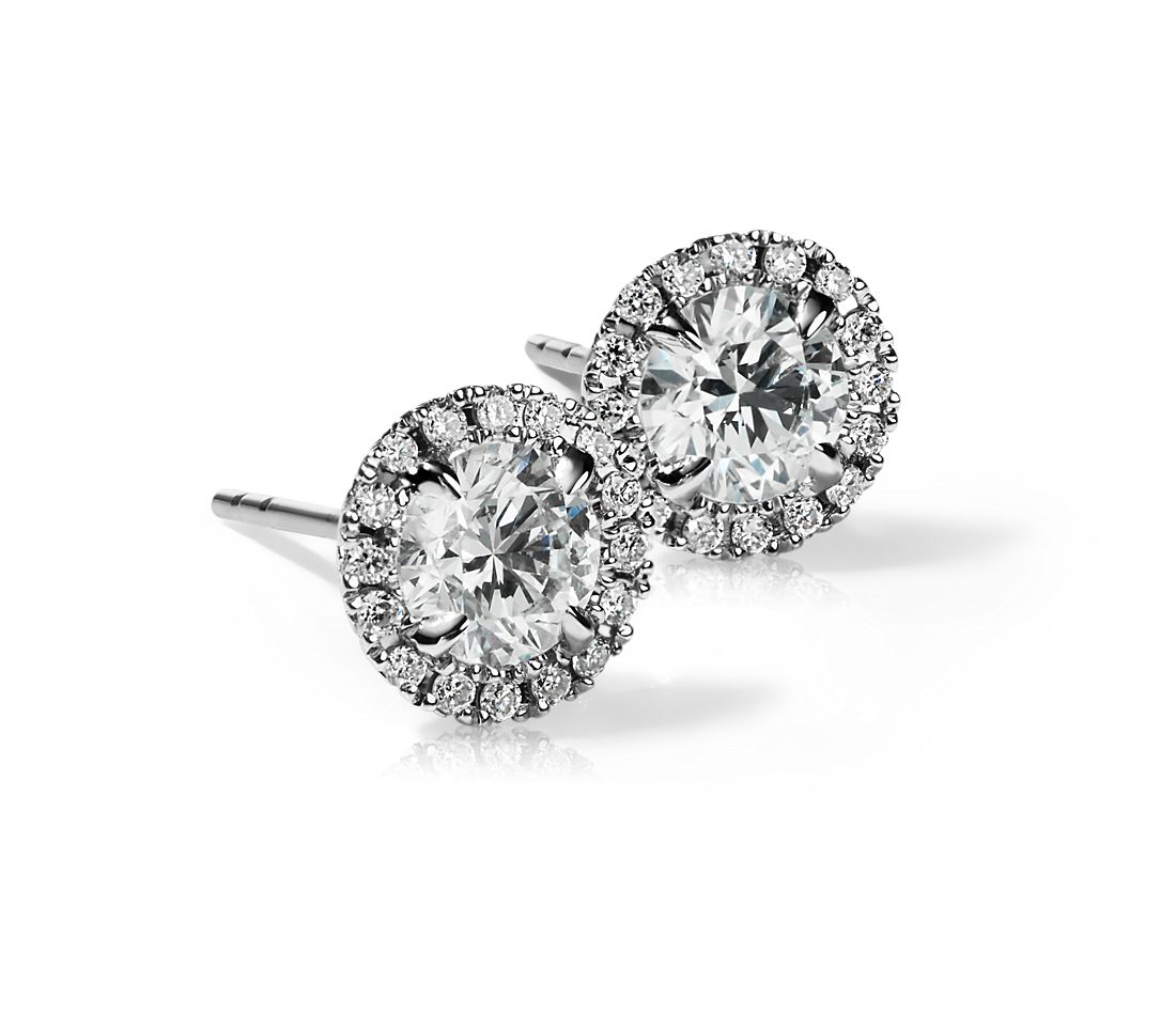 Halo Diamond Stud Earrings  in 18k White Gold