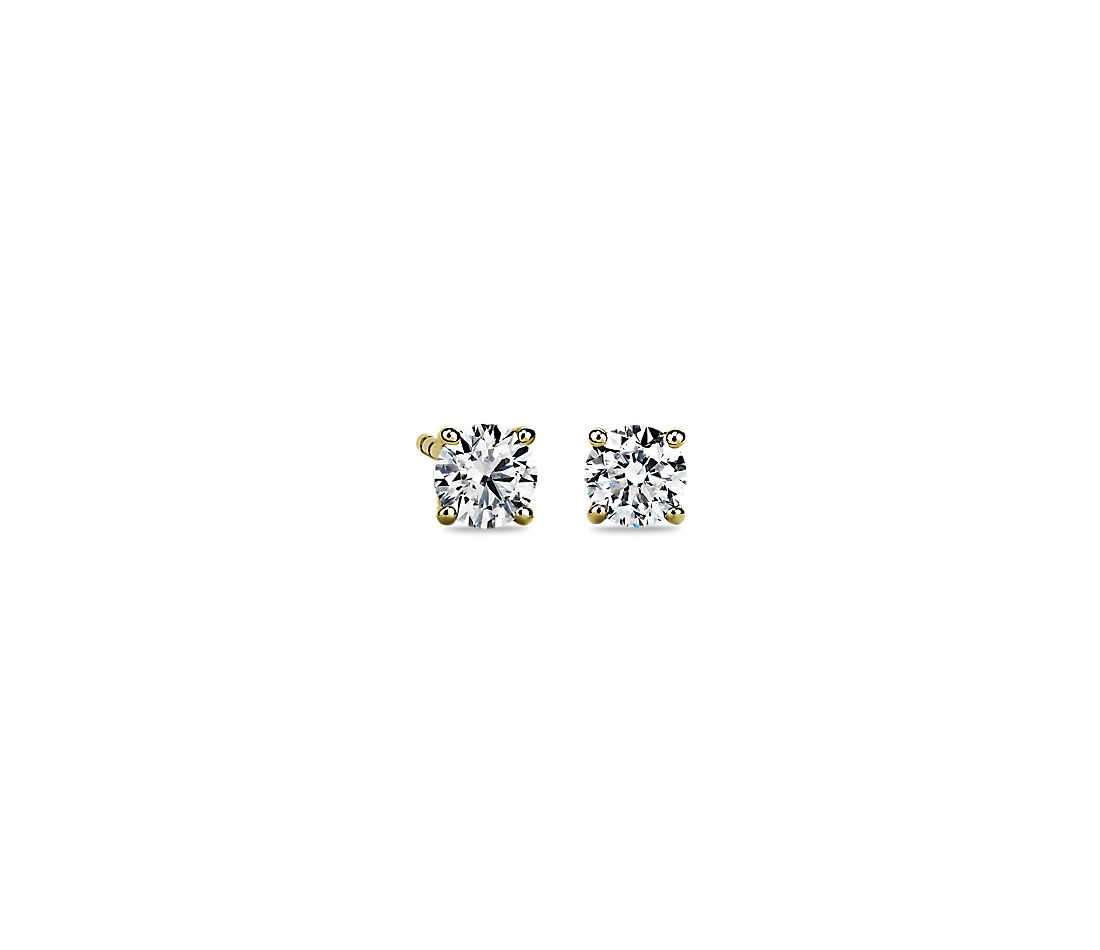 Diamond Stud Earrings In 14k Yellow Gold 3 4 Ct Tw