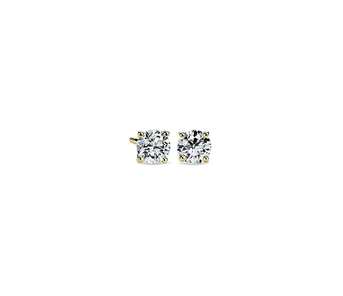 Diamond Stud Earrings In 14k Yellow Gold 1 Ct Tw