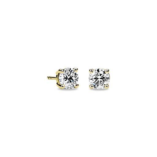 1 1//2 ct 14k Yellow Gold Round Black Diamond Stud Earrings Heated