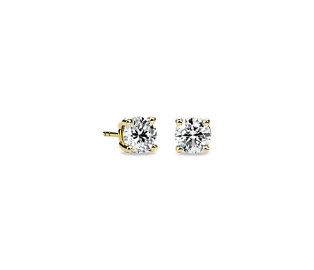 14k 黃金 鑽石釘款耳環<br>( 1 1/2 克拉總重量)