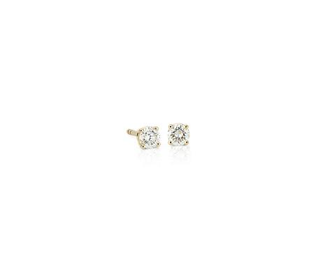 Or jaune 14carats Puces d'oreilles en diamant sertissure à quatre griffes (1/3carat, poids total)