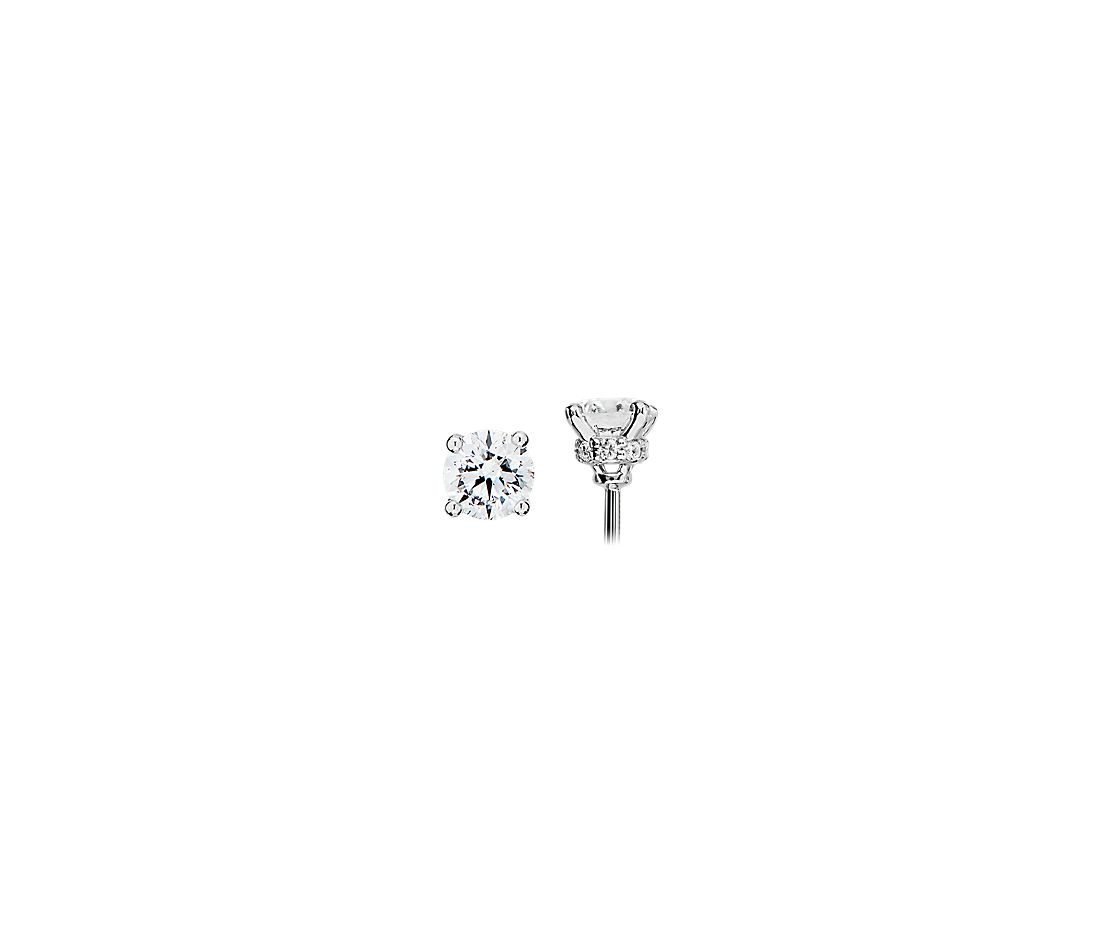 Diamond Stud Earrings with Diamond Halo Baskets in 14k White Gold - G/I1 (5/8 ct. tw.)
