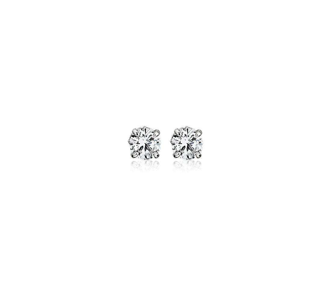 Diamond Stud Earrings with Diamond Halo Baskets in 14k White Gold - G/I1 (1 ct. tw.)