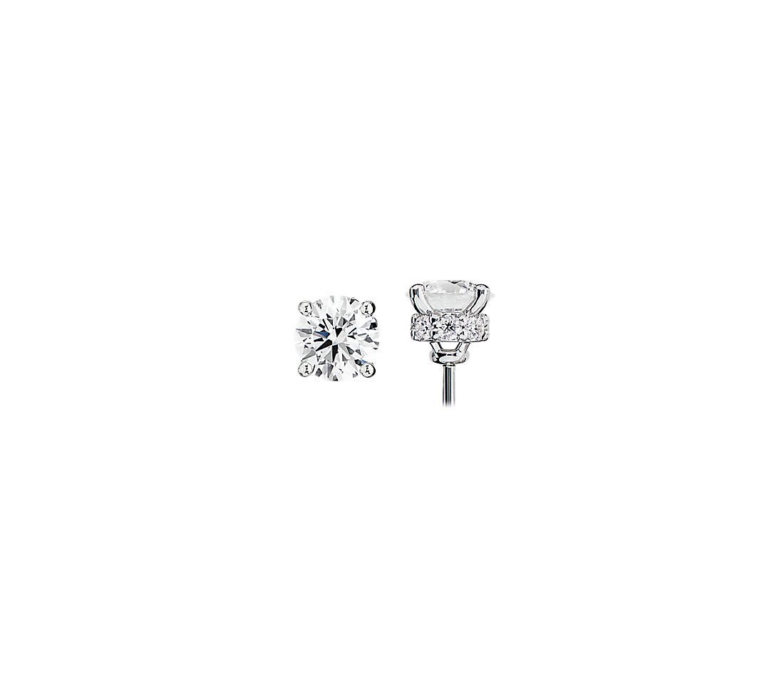 Diamond Stud Earrings with Diamond Halo Baskets in 14k White Gold - G/I1 (1 1/2 ct. tw.)