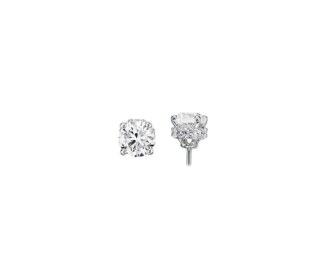 Diamond Stud Earrings with Diamond Halo Baskets in 14k White Gold (2 ct. tw.)