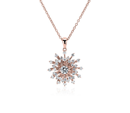 Diamond Sunburst Pendant In 14k Rose Gold 3 4 Ct Tw