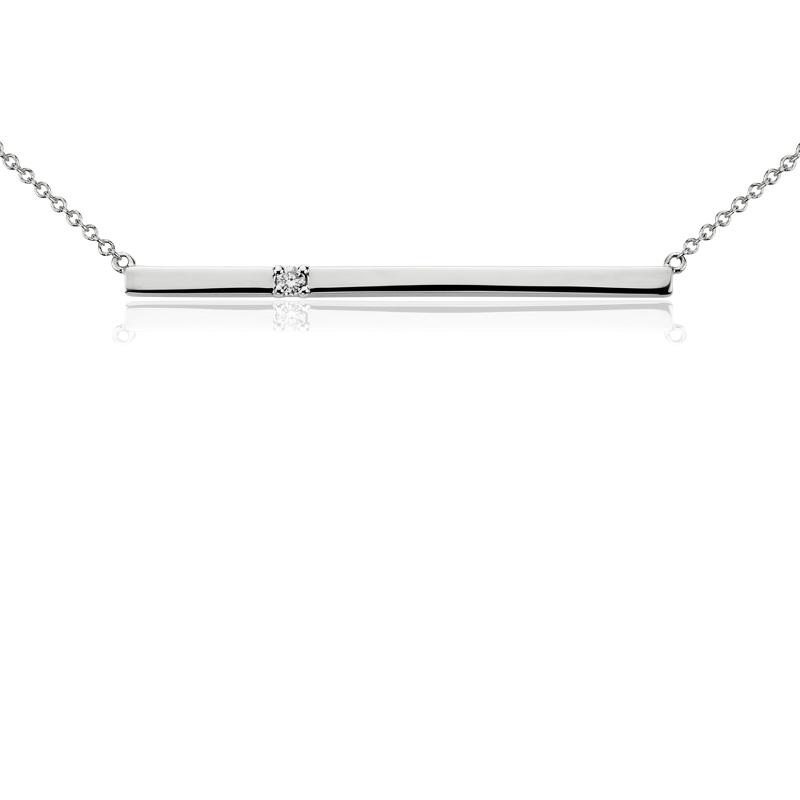 Bar Diamond Necklace in 14k White Gold