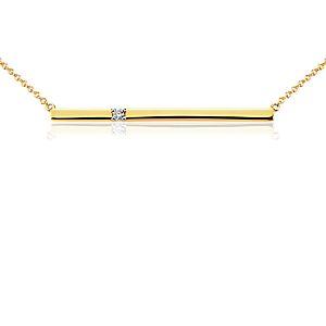 Collar de diamante con barra en oro amarillo de 14k