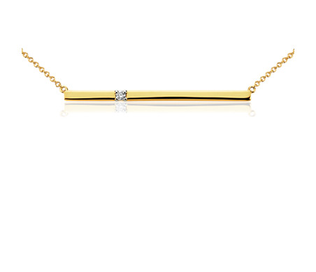 Collier barre diamants en or jaune 14 carats
