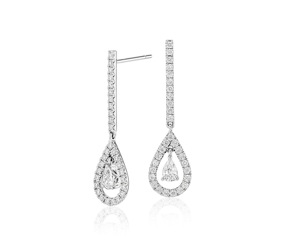 Diamond Teardrop Earrings In 14k White Gold 1 Ct Tw