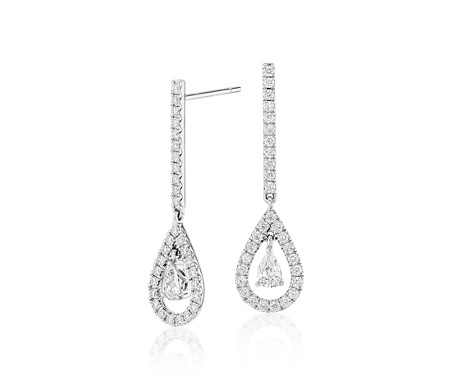 Diamond Teardrop Earrings in 14k White Gold