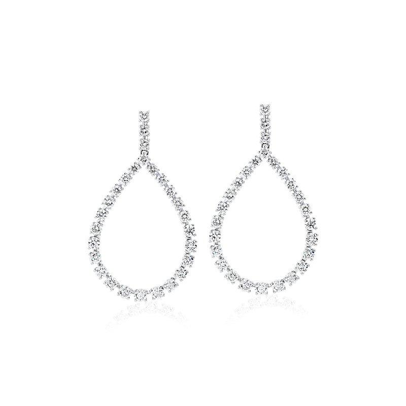 Diamond Teardrop Front Facing Hoop Earrings in 14k White Gold (3