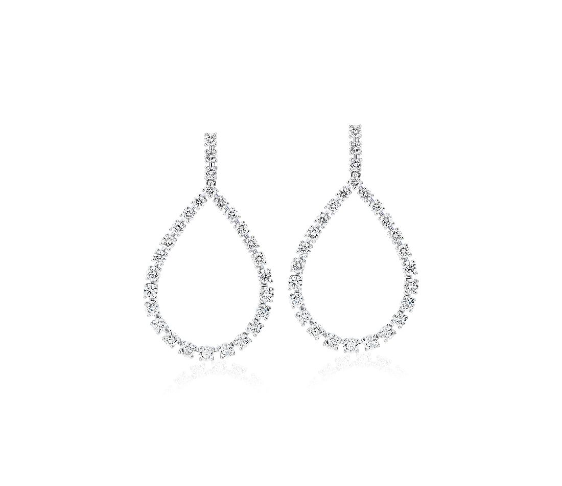 Diamond Teardrop Front Facing Hoop Earrings in 14k White Gold (3 ct. tw.)