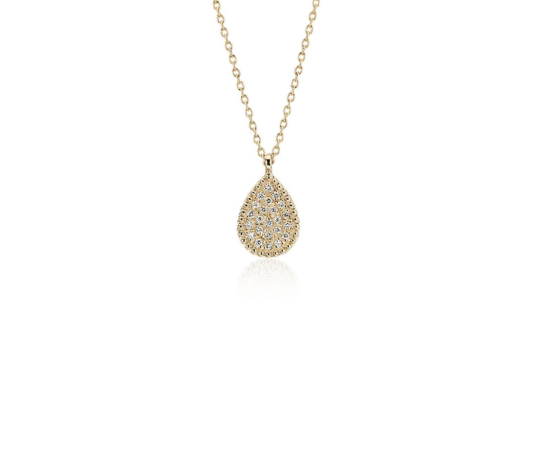 Petite Pavé Diamond Teardrop Pendant in 14k Yellow Gold