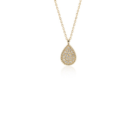 Blue Nile Diamond Vintage-Inspired Teardrop Pendant in 14k White Gold (1/3 ct. tw.) XnR86W