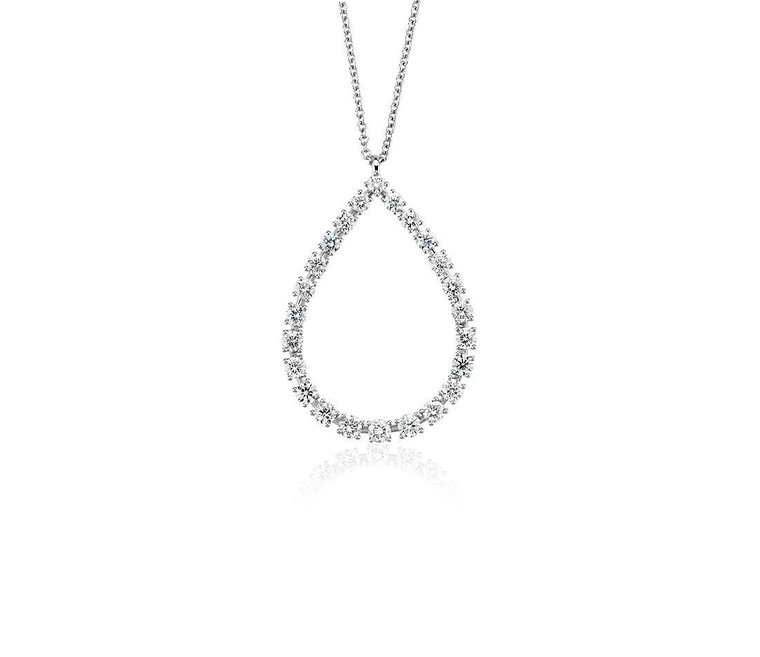 Diamond Teardrop Pendant in 14k White Gold (1 3/8 ct. tw.)