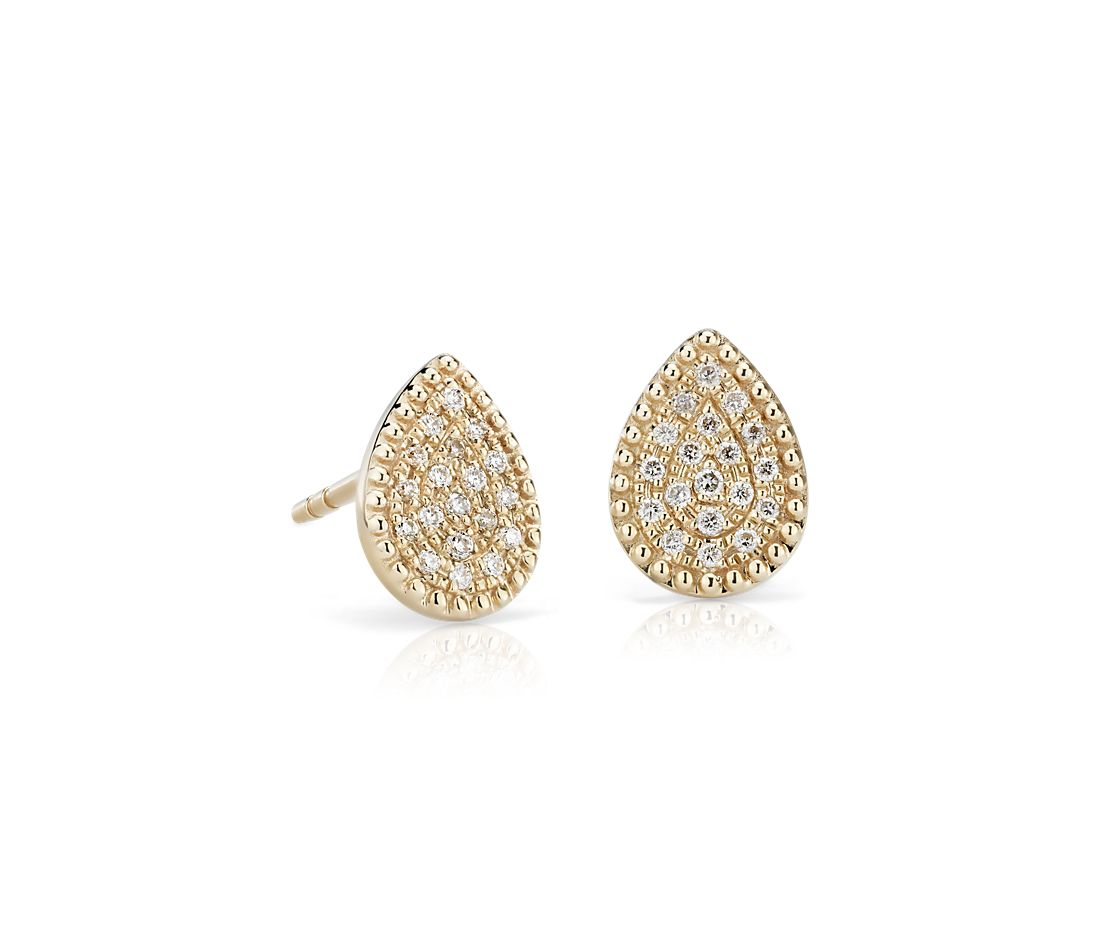 Pee Pavé Diamond Pear Shape Stud Earrings In 14k Yellow Gold 1 10 Ct