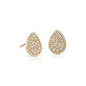 NEW Petite Pavé Diamond Teardrop Stud Earrings in 14k Yellow Gold (1/10 ct. tw.)