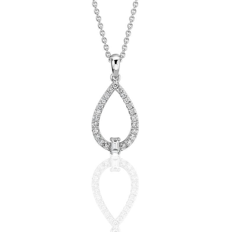 Diamond Teardrop Pendant with Baguette Accent in 14k White Gold (