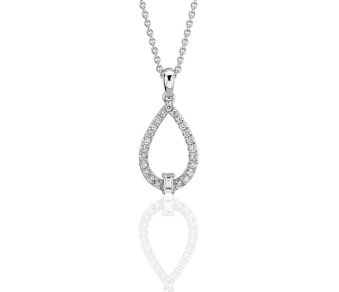 Diamond Teardrop Pendant with Baguette Accent in 14k White Gold (1/4 ct. tw.)