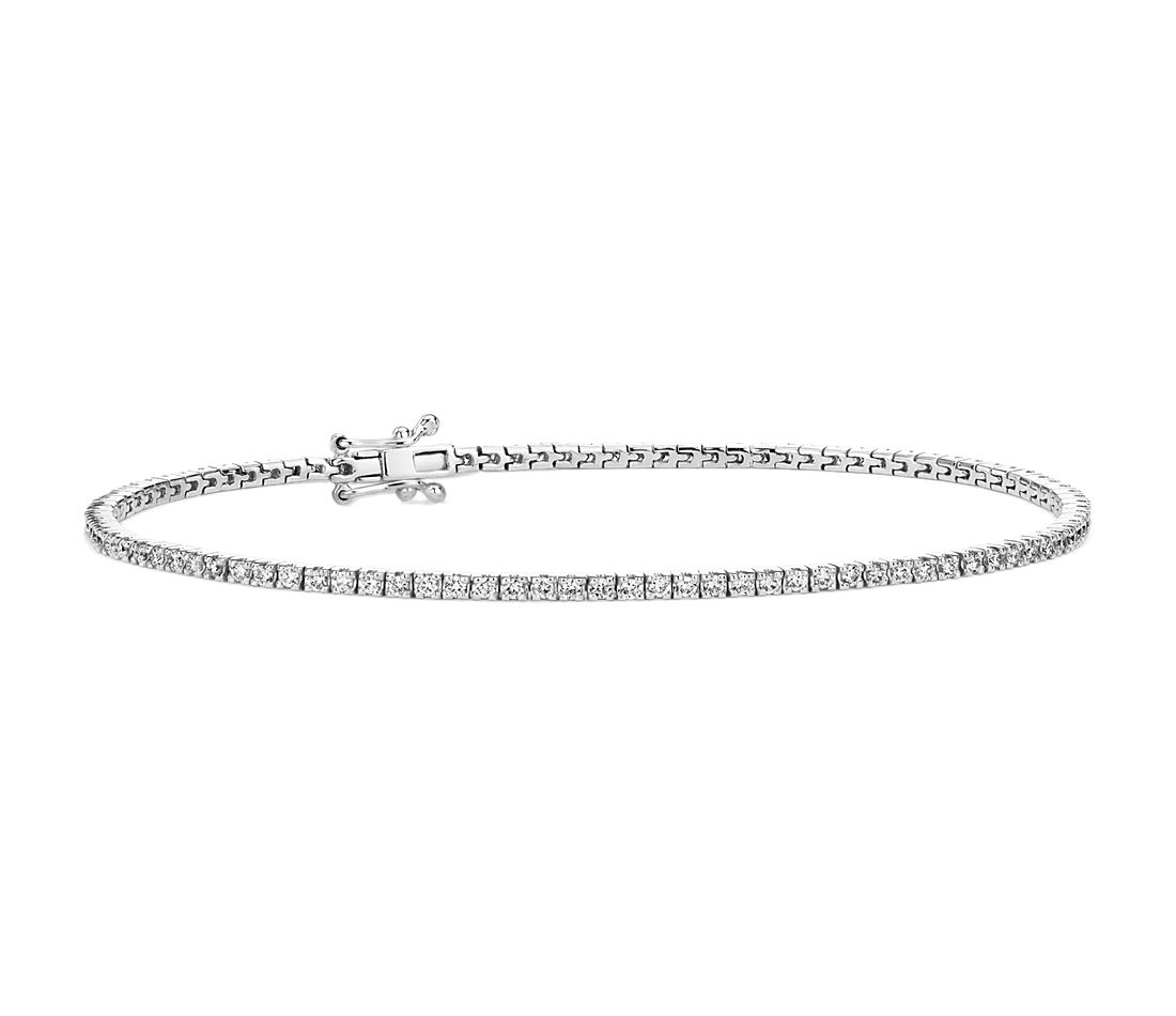Bracelet tennis diamants en or blanc 14 carats (0,95 carat, poids total)