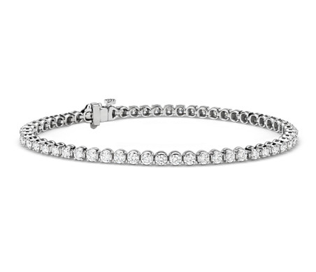 Bracelet tennis diamants en or blanc 14 carats (3 carats, poids total)