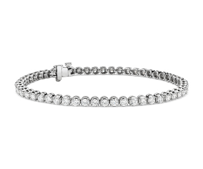 Bracelet tennis diamants en or blanc 14 carats (4 carats, poids total)