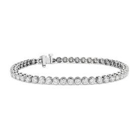 Bracelet tennis diamants en or blanc 14carats (5carats, poids total)