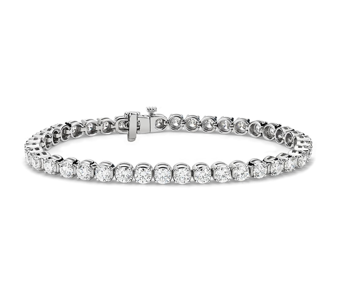 Bracelet tennis diamants en or blanc 14 carats (8 carats, poids total)